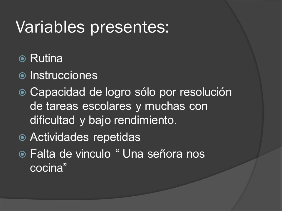 Variables presentes: Rutina Instrucciones