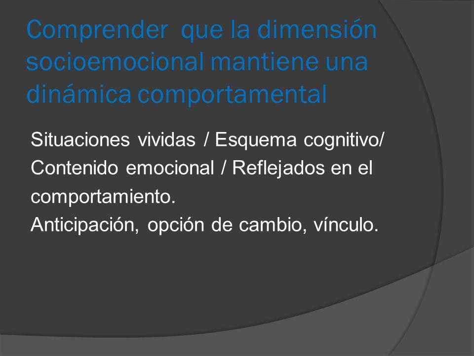 Comprender que la dimensión socioemocional mantiene una dinámica comportamental