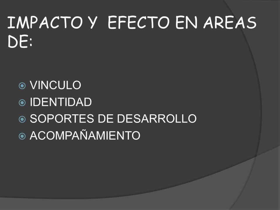 IMPACTO Y EFECTO EN AREAS DE: