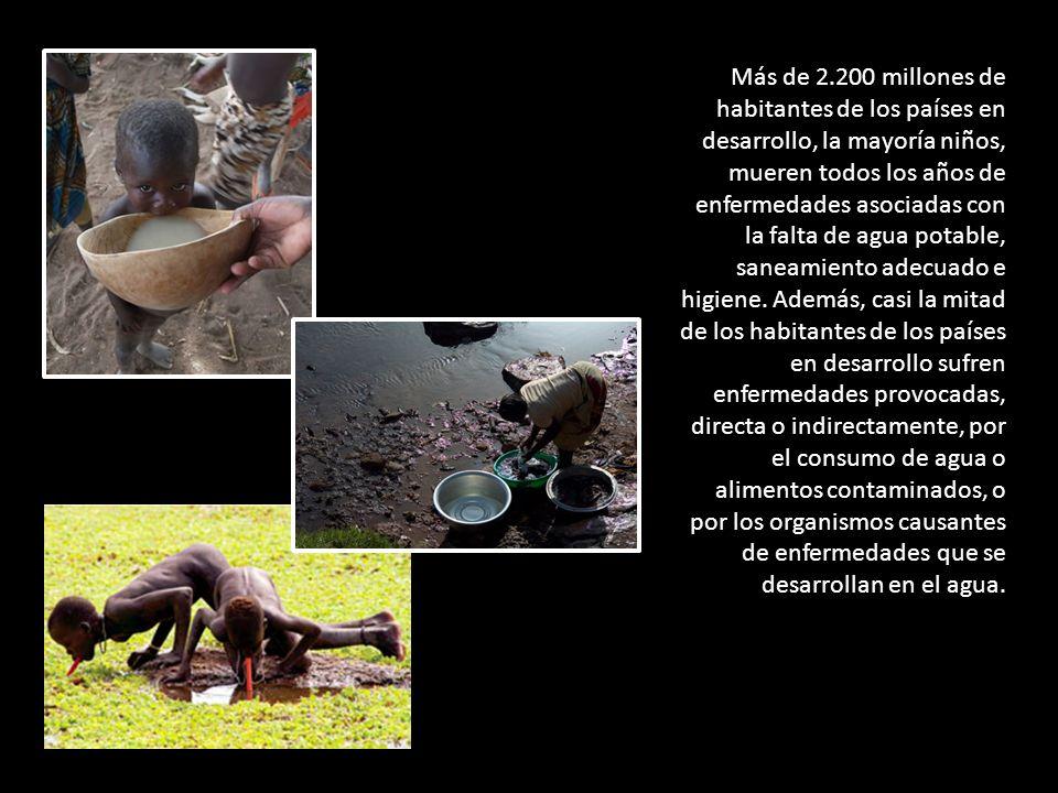 Más de 2.200 millones de habitantes de los países en desarrollo, la mayoría niños, mueren todos los años de enfermedades asociadas con la falta de agua potable, saneamiento adecuado e higiene.