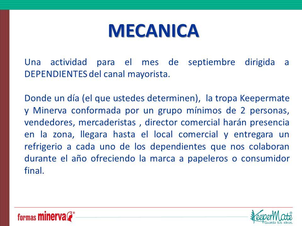 MECANICA Una actividad para el mes de septiembre dirigida a DEPENDIENTES del canal mayorista.