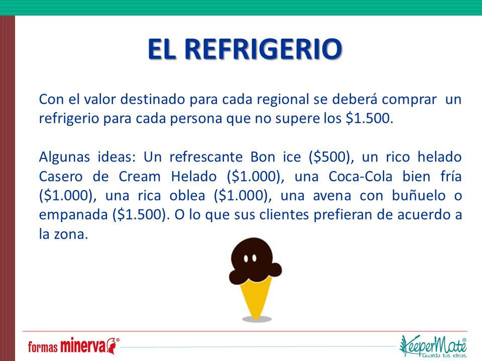 EL REFRIGERIO Con el valor destinado para cada regional se deberá comprar un refrigerio para cada persona que no supere los $1.500.