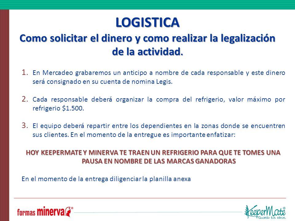 LOGISTICA Como solicitar el dinero y como realizar la legalización de la actividad.