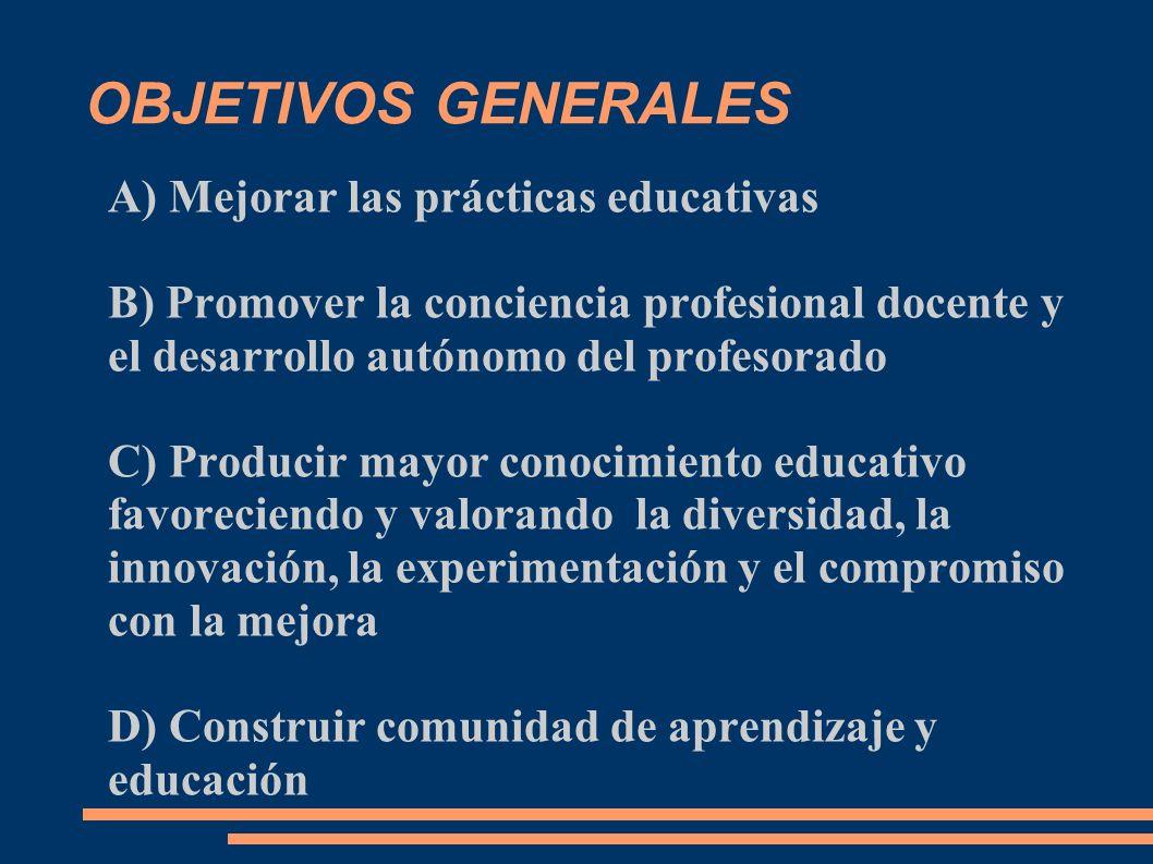 OBJETIVOS GENERALES A) Mejorar las prácticas educativas