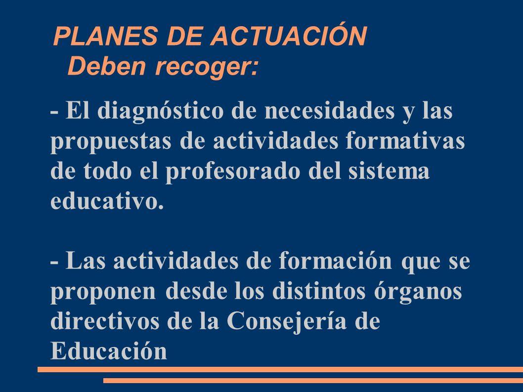 PLANES DE ACTUACIÓN Deben recoger: