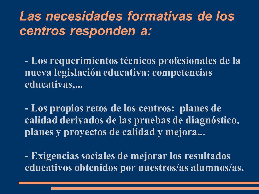 Las necesidades formativas de los centros responden a: