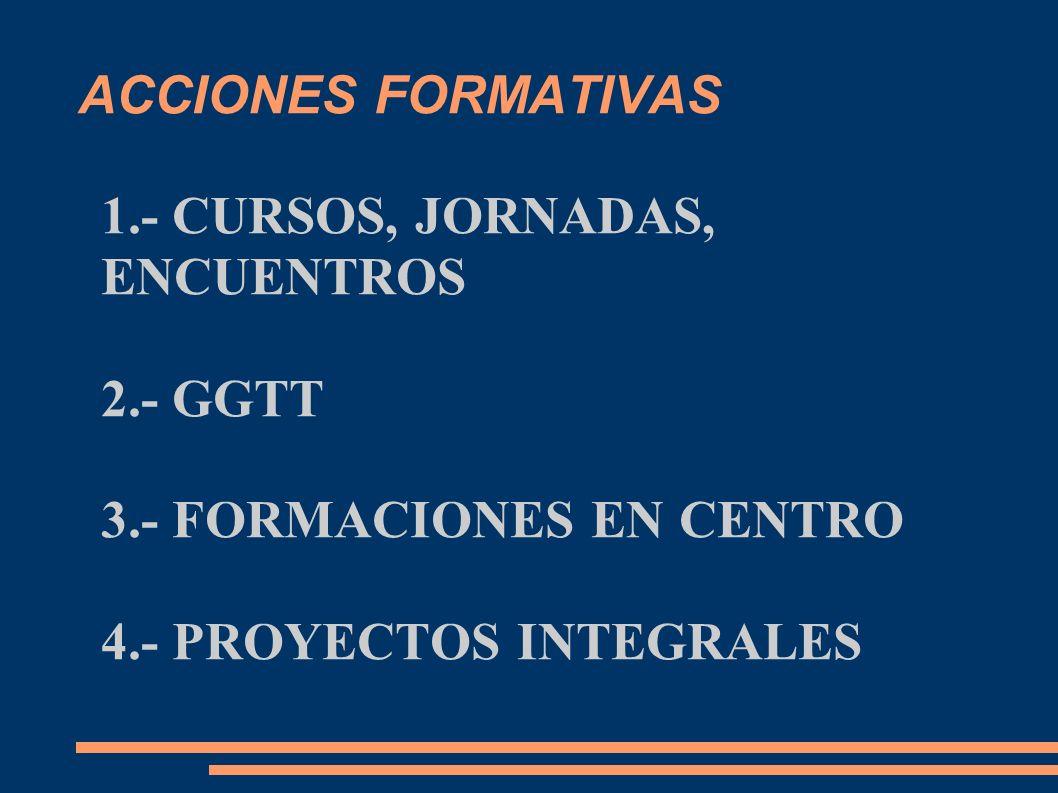 ACCIONES FORMATIVAS 1.- CURSOS, JORNADAS, ENCUENTROS.