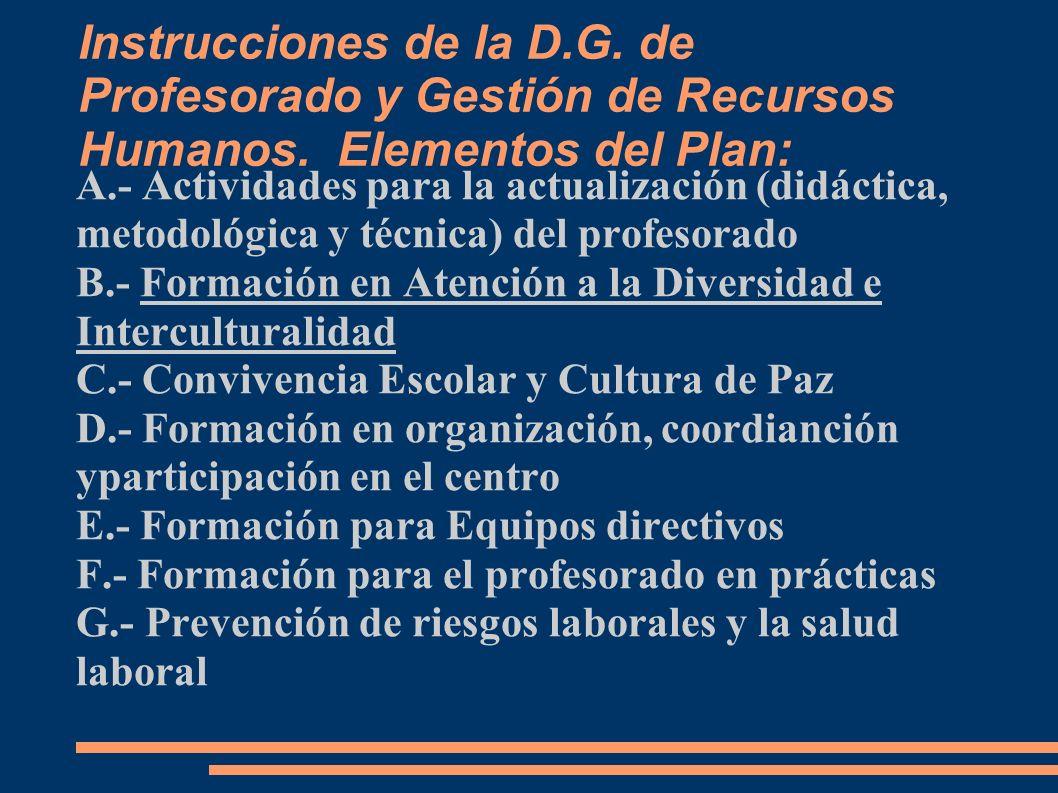 Instrucciones de la D. G. de Profesorado y Gestión de Recursos Humanos