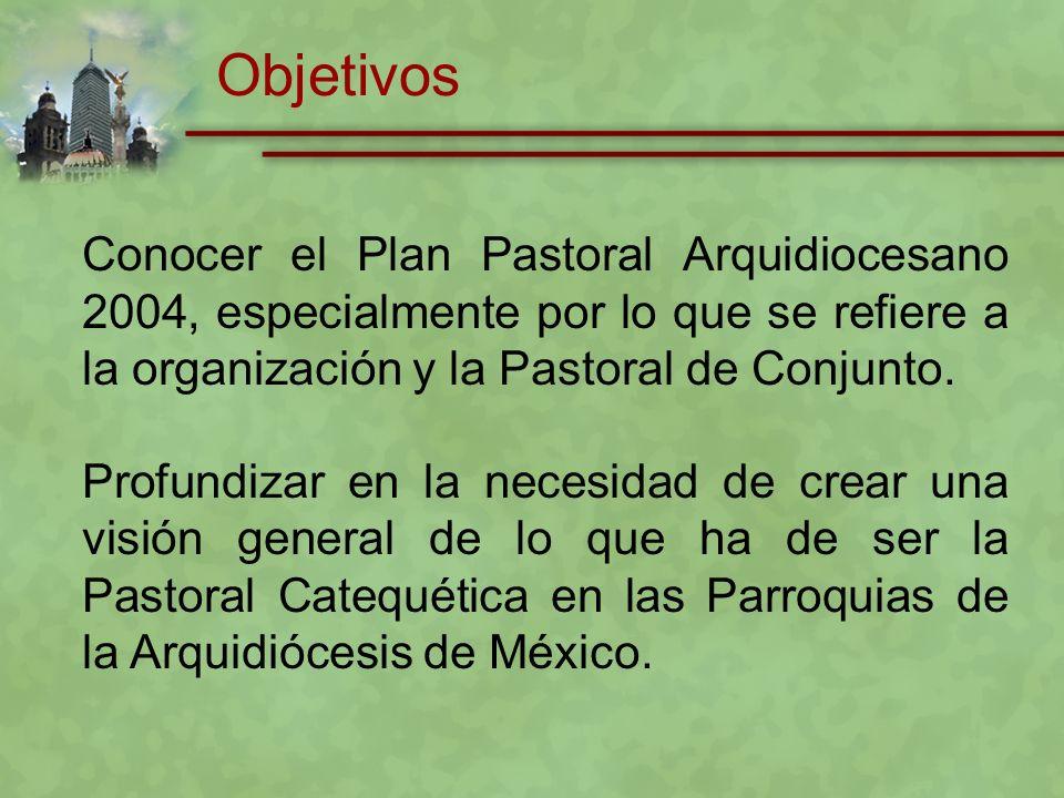 Objetivos Conocer el Plan Pastoral Arquidiocesano 2004, especialmente por lo que se refiere a la organización y la Pastoral de Conjunto.