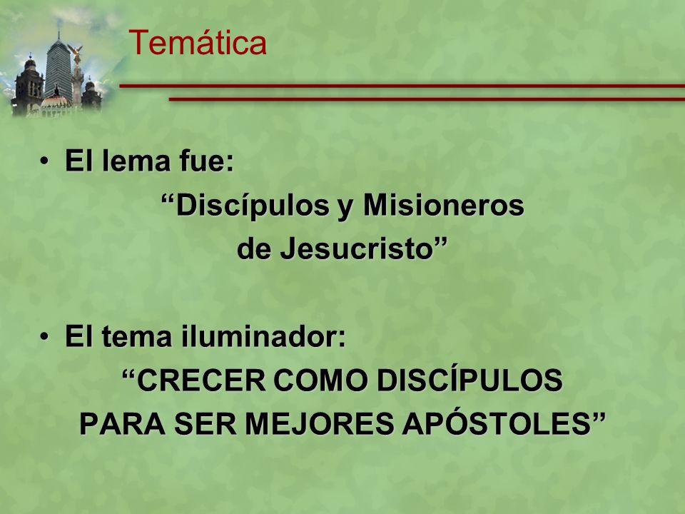 Temática El lema fue: Discípulos y Misioneros de Jesucristo