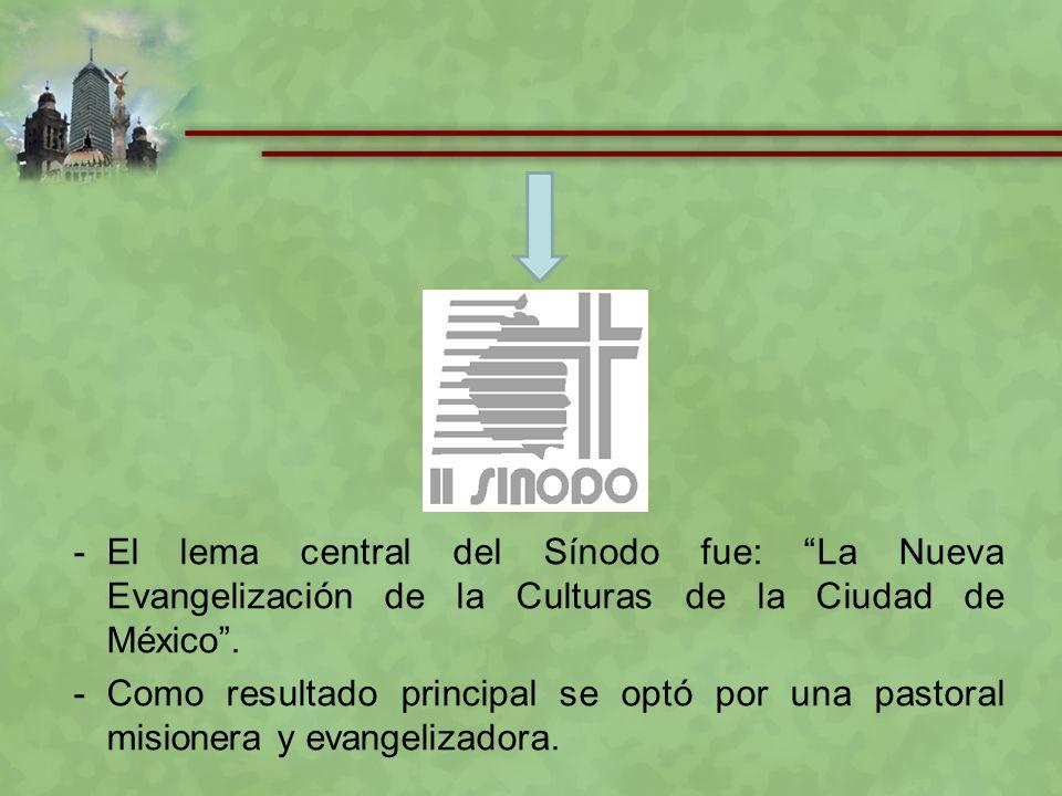 El lema central del Sínodo fue: La Nueva Evangelización de la Culturas de la Ciudad de México .