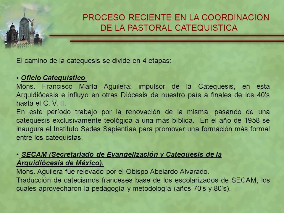 PROCESO RECIENTE EN LA COORDINACION DE LA PASTORAL CATEQUISTICA