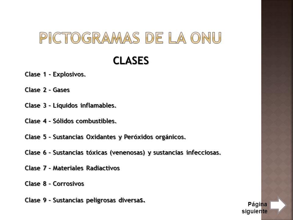 Pictogramas de la onu CLASES Clase 1 - Explosivos. Clase 2 – Gases
