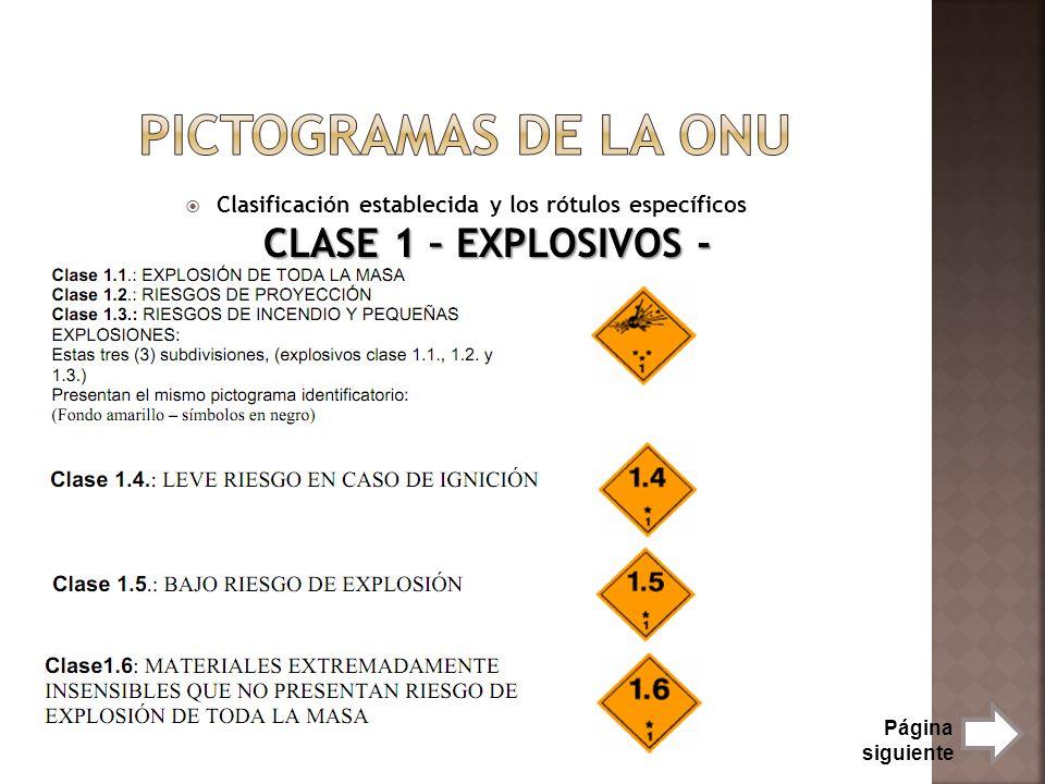 Pictogramas de la onu Clasificación establecida y los rótulos específicos CLASE 1 – EXPLOSIVOS - Página siguiente.