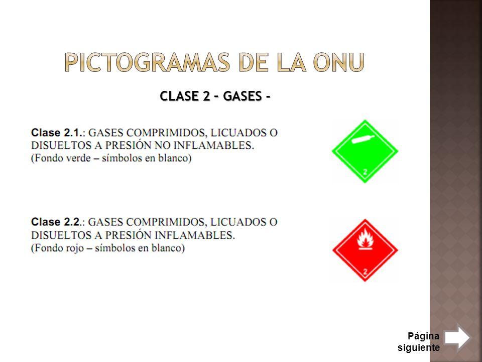 Pictogramas de la onu CLASE 2 – GASES - Página siguiente