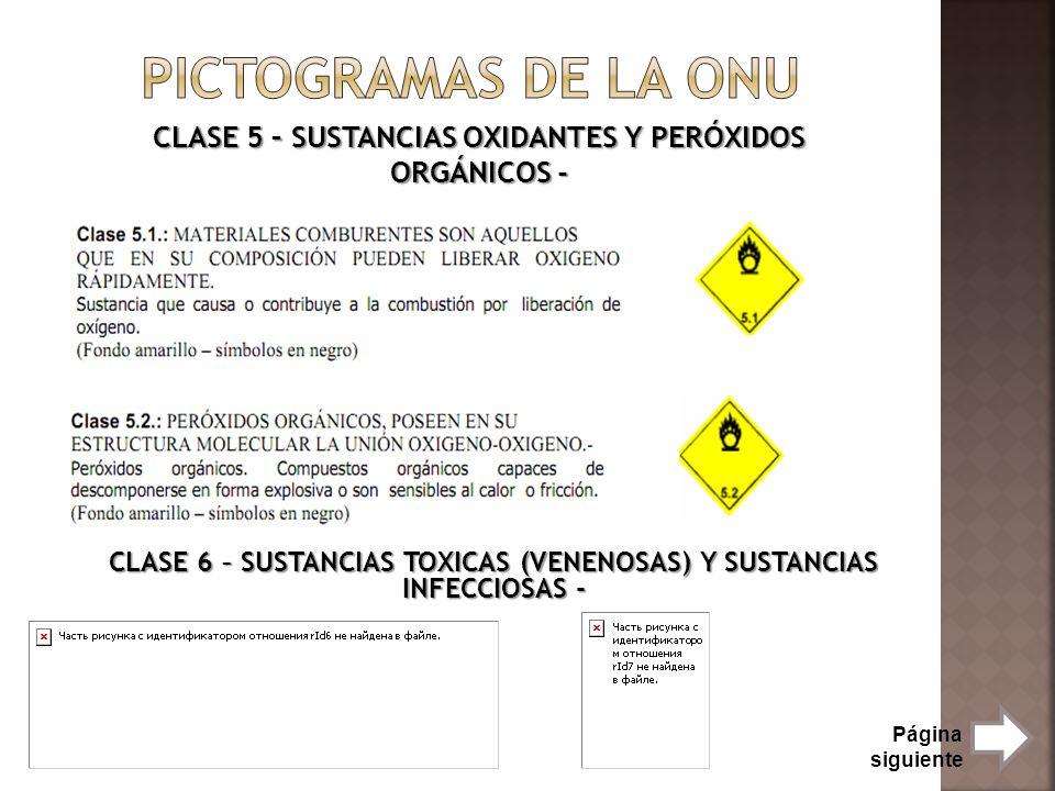 Pictogramas de la onu CLASE 5 – SUSTANCIAS OXIDANTES Y PERÓXIDOS ORGÁNICOS - CLASE 6 – SUSTANCIAS TOXICAS (VENENOSAS) Y SUSTANCIAS INFECCIOSAS -