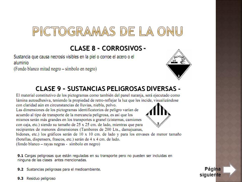 CLASE 8 – CORROSIVOS – CLASE 9 – SUSTANCIAS PELIGROSAS DIVERSAS -