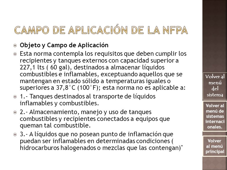 Campo de aplicación de la NFPA