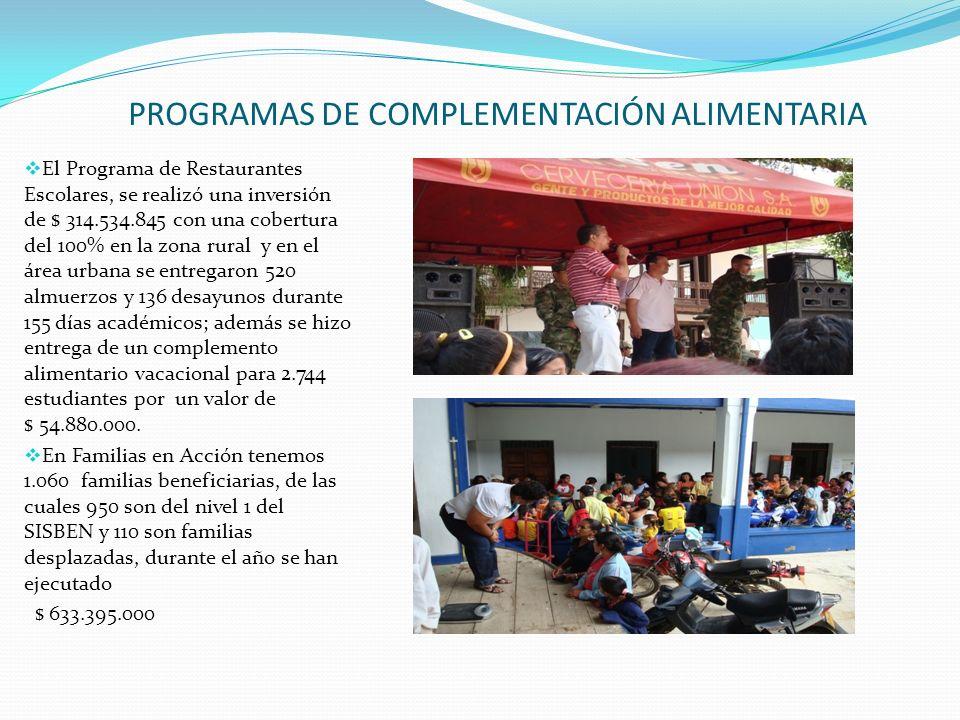 PROGRAMAS DE COMPLEMENTACIÓN ALIMENTARIA