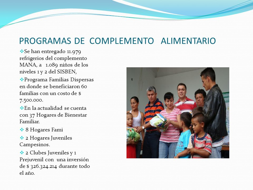 PROGRAMAS DE COMPLEMENTO ALIMENTARIO