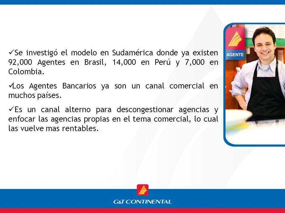Se investigó el modelo en Sudamérica donde ya existen 92,000 Agentes en Brasil, 14,000 en Perú y 7,000 en Colombia.