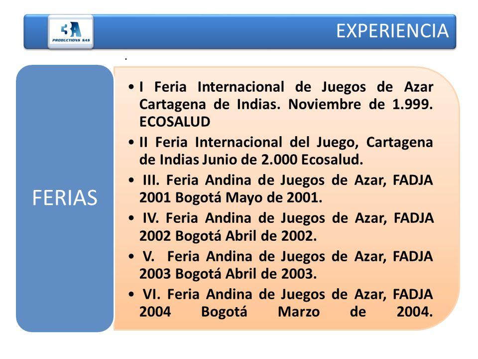 EXPERIENCIA . I Feria Internacional de Juegos de Azar Cartagena de Indias. Noviembre de 1.999. ECOSALUD.