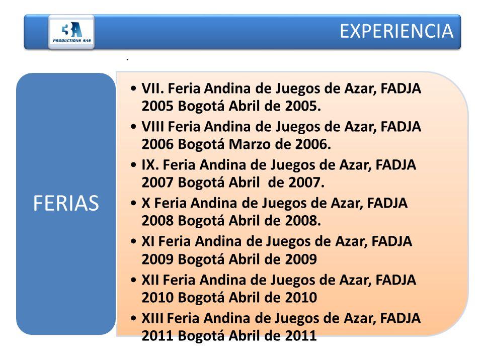 EXPERIENCIA . VII. Feria Andina de Juegos de Azar, FADJA 2005 Bogotá Abril de 2005.