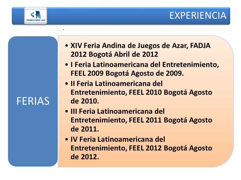 EXPERIENCIA . FERIAS. XIV Feria Andina de Juegos de Azar, FADJA 2012 Bogotá Abril de 2012.
