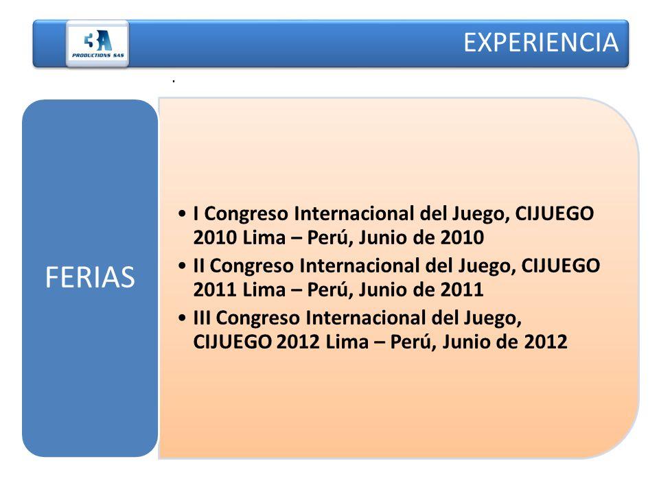 EXPERIENCIA . FERIAS. I Congreso Internacional del Juego, CIJUEGO 2010 Lima – Perú, Junio de 2010.