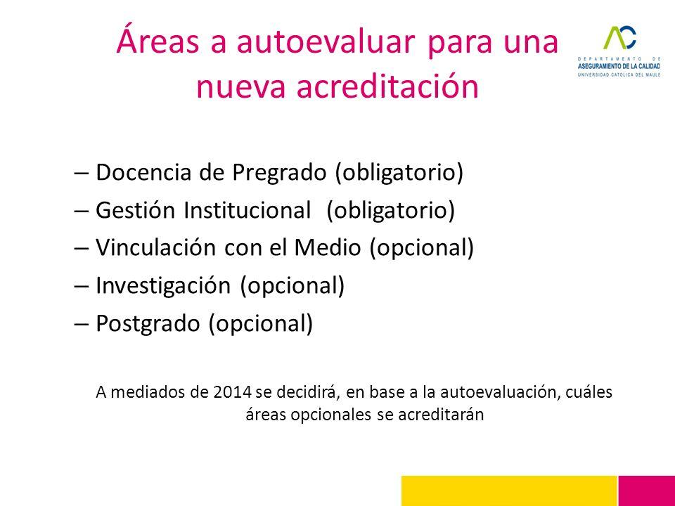 Áreas a autoevaluar para una nueva acreditación