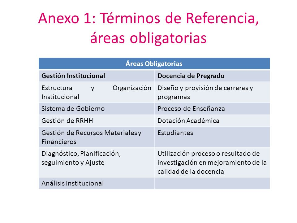 Anexo 1: Términos de Referencia, áreas obligatorias