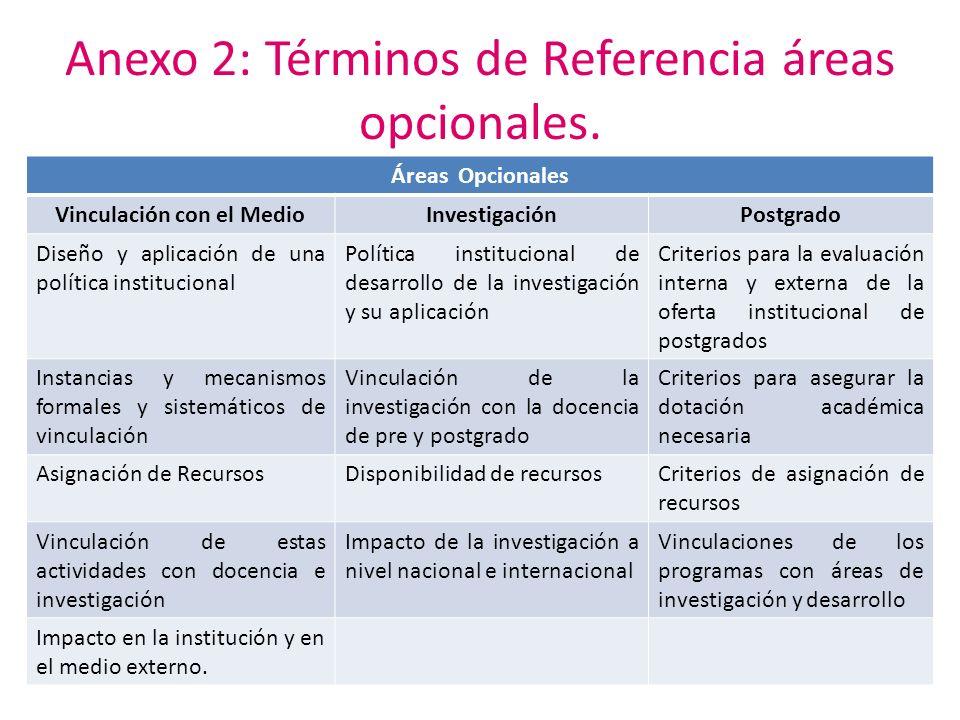 Anexo 2: Términos de Referencia áreas opcionales.