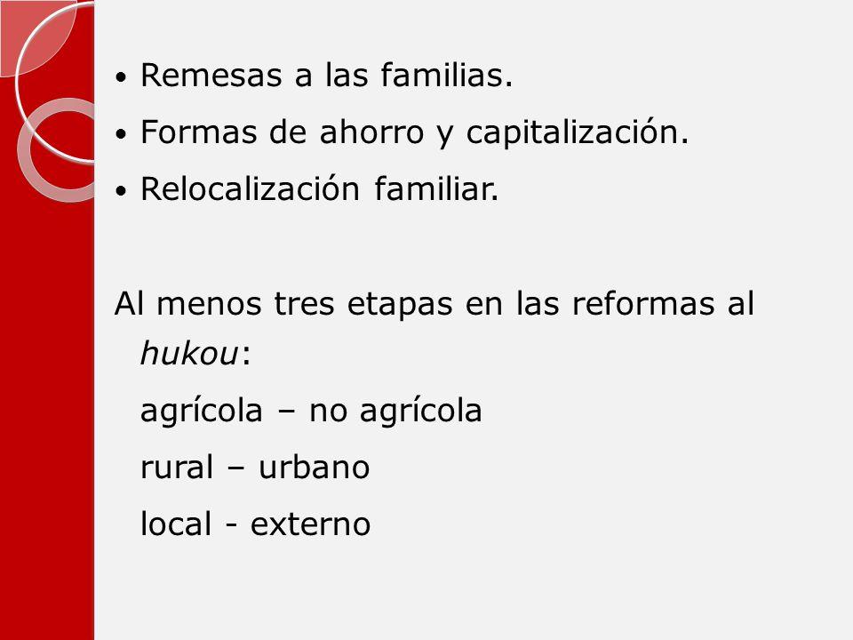 Remesas a las familias. Formas de ahorro y capitalización. Relocalización familiar. Al menos tres etapas en las reformas al hukou: