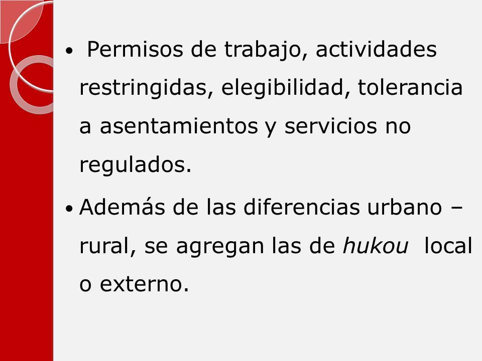 Permisos de trabajo, actividades restringidas, elegibilidad, tolerancia a asentamientos y servicios no regulados.