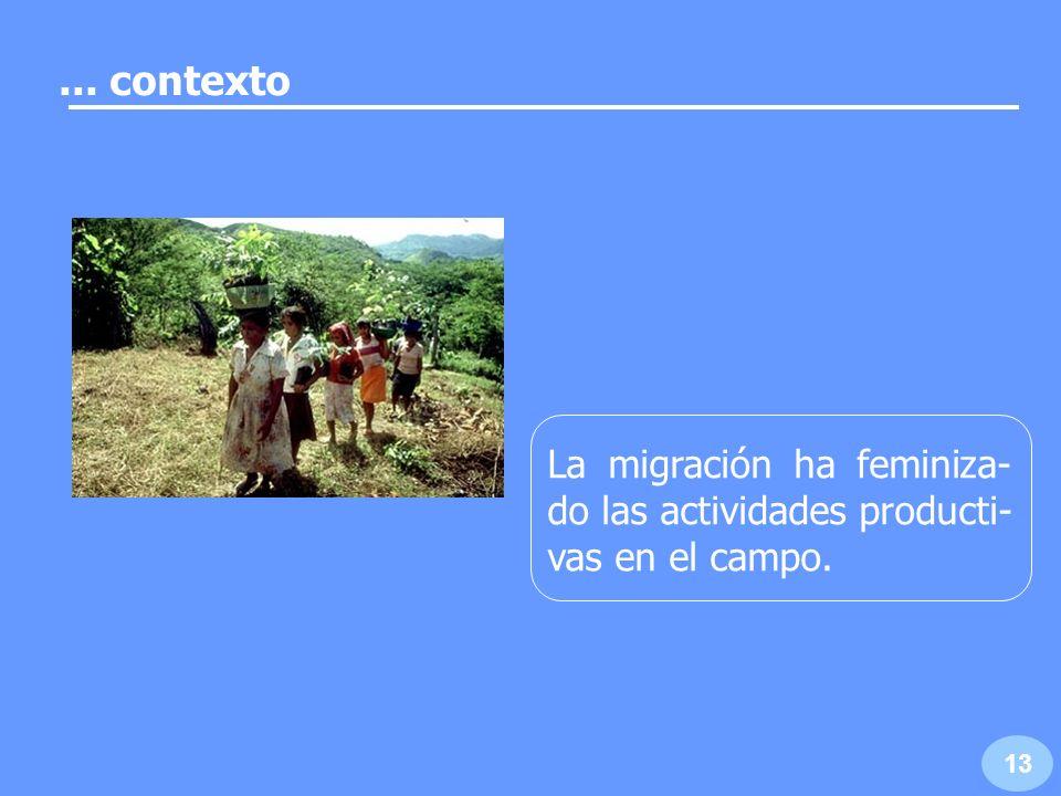 ... contexto La migración ha feminiza-do las actividades producti-vas en el campo. 13