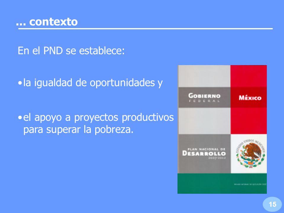 ... contexto En el PND se establece: la igualdad de oportunidades y