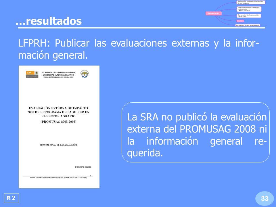 …resultados LFPRH: Publicar las evaluaciones externas y la infor-mación general.