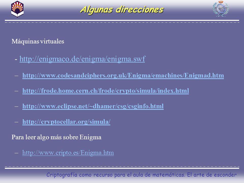 Algunas direcciones - http://enigmaco.de/enigma/enigma.swf