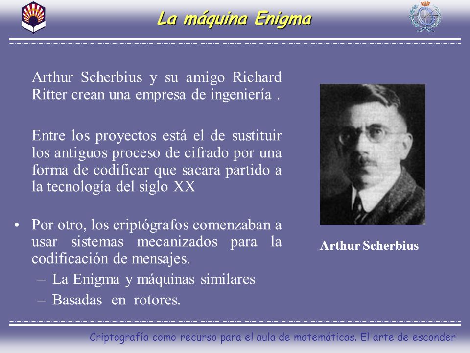 La máquina Enigma Arthur Scherbius y su amigo Richard Ritter crean una empresa de ingeniería .