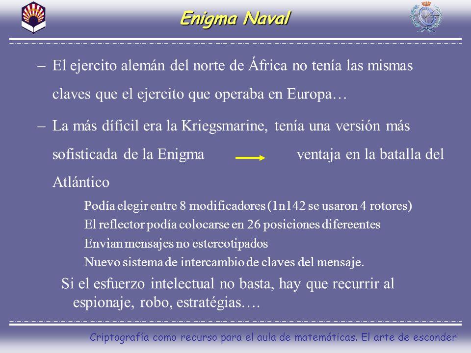 Enigma Naval El ejercito alemán del norte de África no tenía las mismas claves que el ejercito que operaba en Europa…