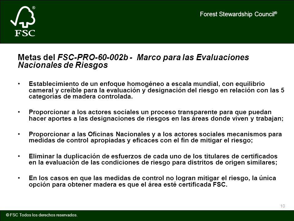 Metas del FSC-PRO-60-002b - Marco para las Evaluaciones Nacionales de Riesgos