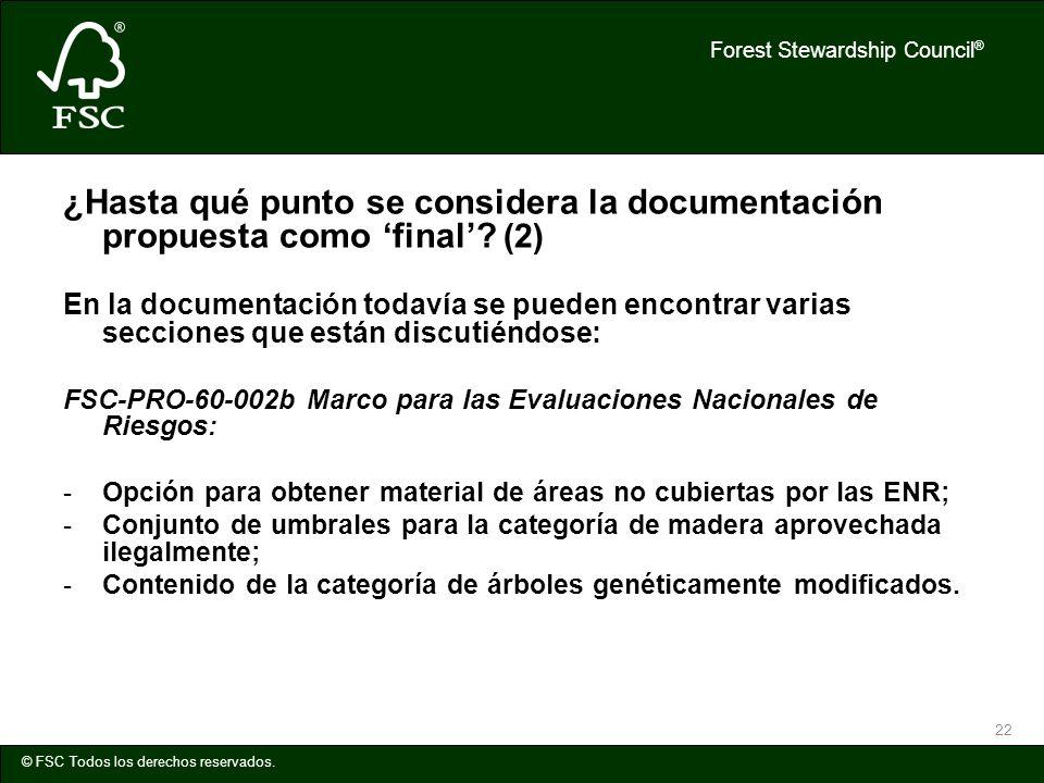 ¿Hasta qué punto se considera la documentación propuesta como 'final'