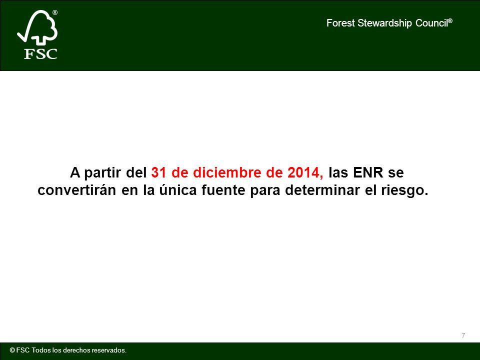 A partir del 31 de diciembre de 2014, las ENR se convertirán en la única fuente para determinar el riesgo.