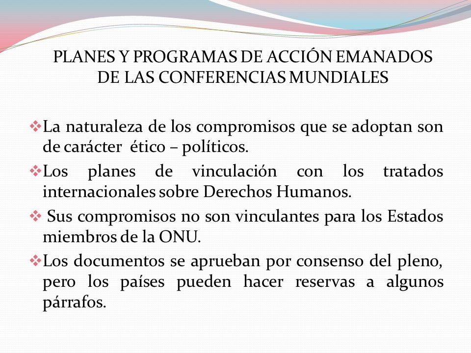 PLANES Y PROGRAMAS DE ACCIÓN EMANADOS DE LAS CONFERENCIAS MUNDIALES