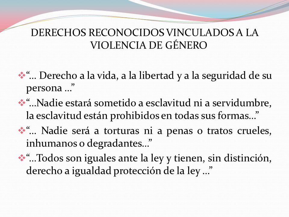 DERECHOS RECONOCIDOS VINCULADOS A LA VIOLENCIA DE GÉNERO