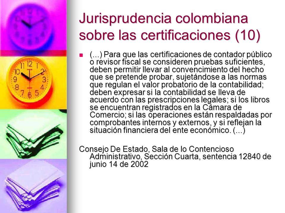 Jurisprudencia colombiana sobre las certificaciones (10)