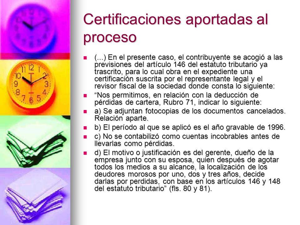 Certificaciones aportadas al proceso