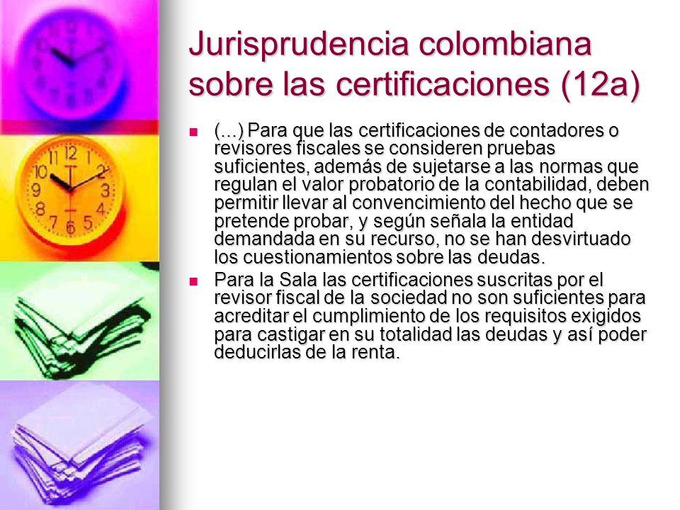 Jurisprudencia colombiana sobre las certificaciones (12a)