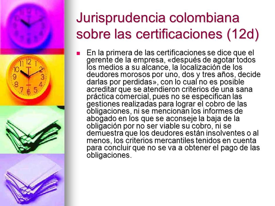 Jurisprudencia colombiana sobre las certificaciones (12d)