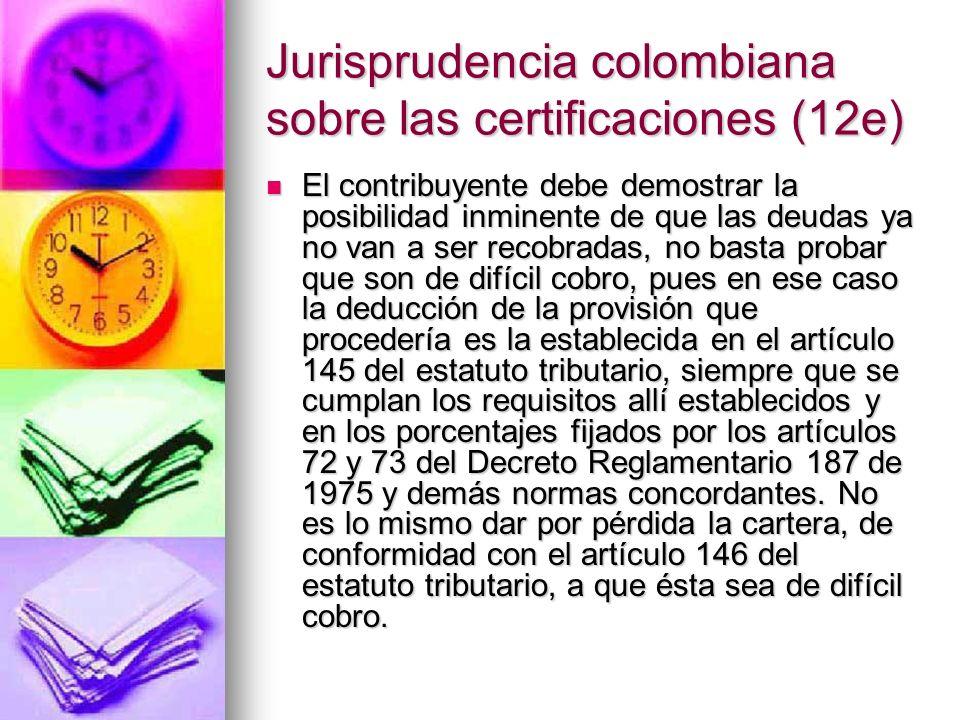 Jurisprudencia colombiana sobre las certificaciones (12e)